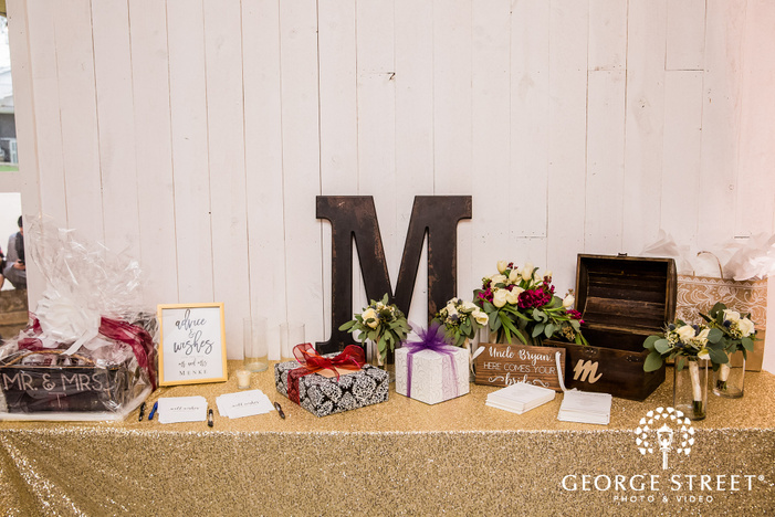 classy reception gifts and cards table wedding photo