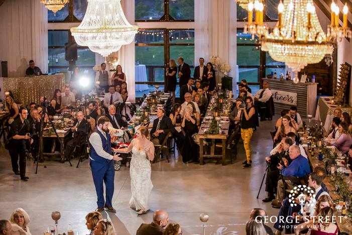 loving bride and groom first dance at blissful hill in austin