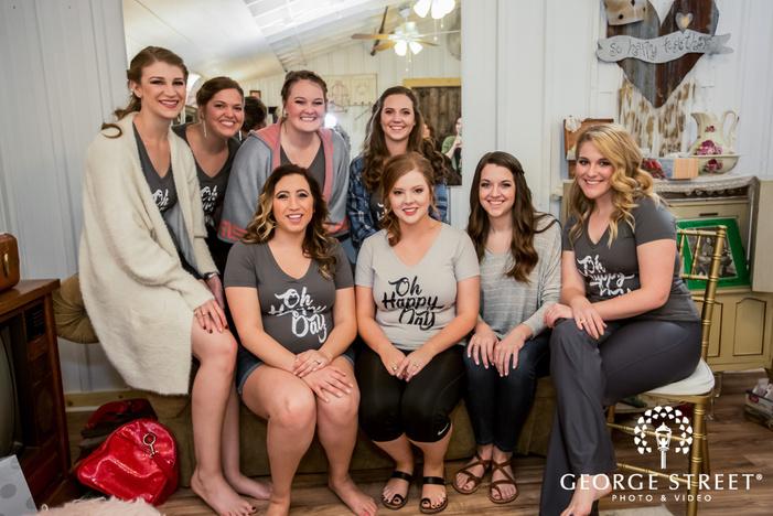 pretty bride and bridesmaids in bridal suite wedding photos