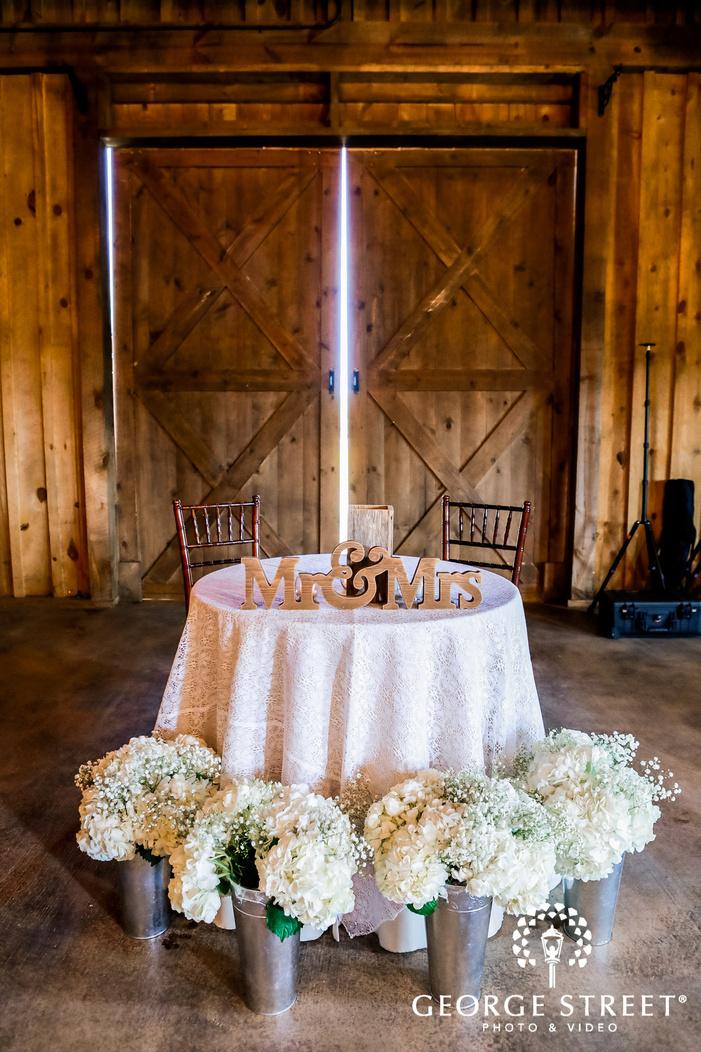 elegant reception table setup at king river ranch in austin wedding photo