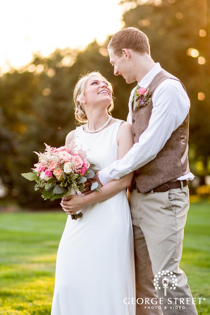danada house outdoor sunset wedding portraits bride and groom candid