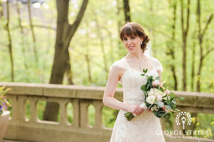pretty bride on bridge wedding photography