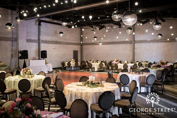 elegant reception hall table setting wedding photo
