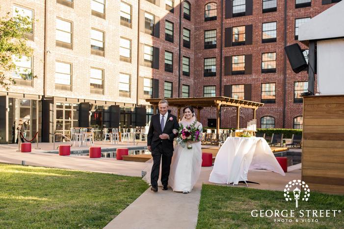 mesmerizing bride and father ceremony entrance wedding photos