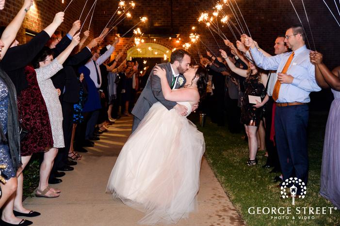 romantic bride and groom reception exit wedding photography