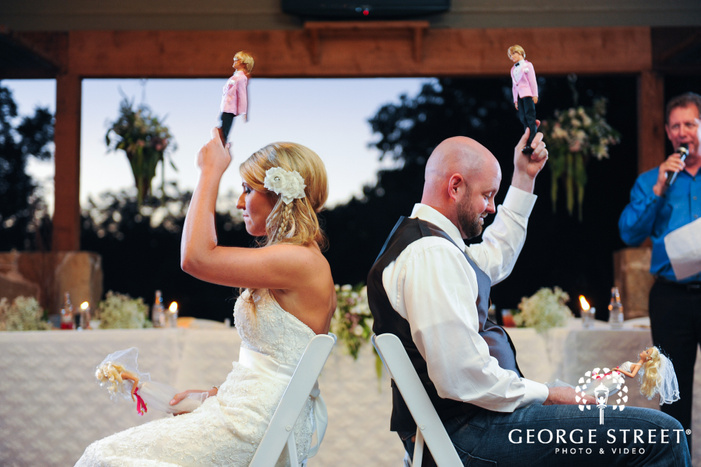 bride and groom reception game with dolls