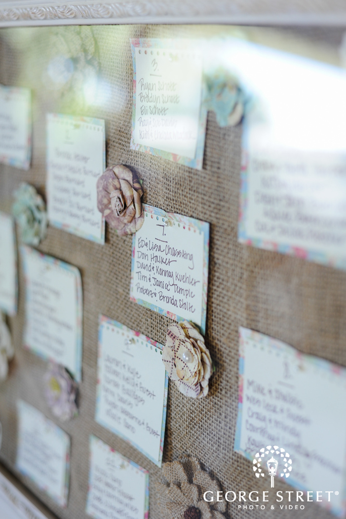 burlap and fabric flower reception seating chart