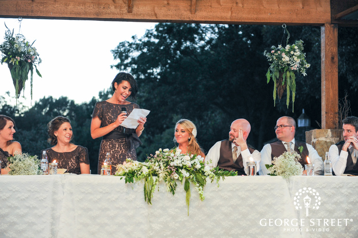 maid of honor speech at head table with bridal party