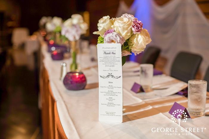 beautiful wedding menu card at reception