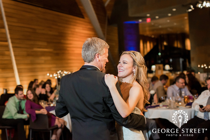excited bride and father reception dance