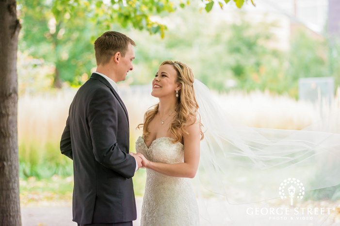 gorgeous bride and groom in green