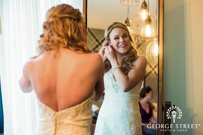 happy bride getting ready wedding photography