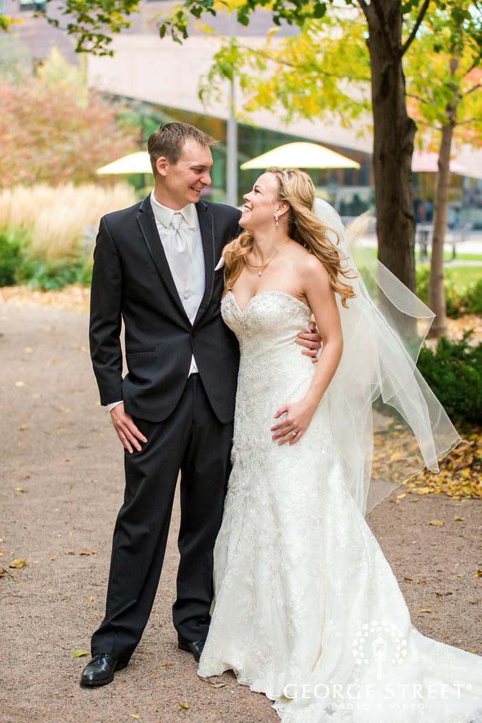 joyful bride and groom at yard