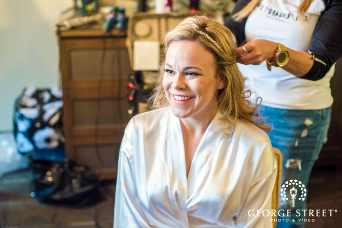 lovely bride getting ready