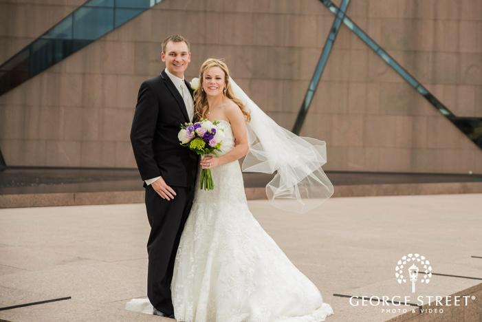 mesmerizing bride and groom on walkway