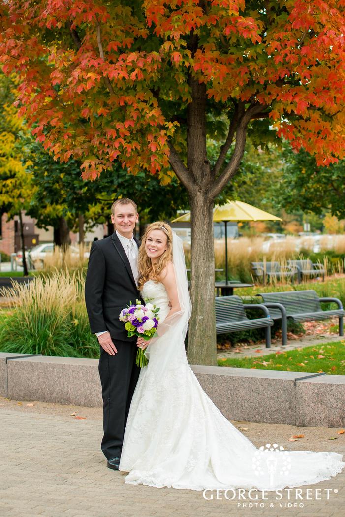 ravishing bride and groom on walkway