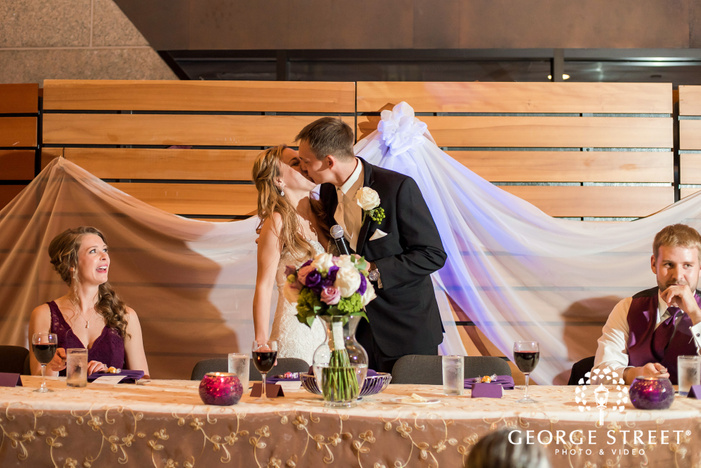 romantic bride and groom at reception