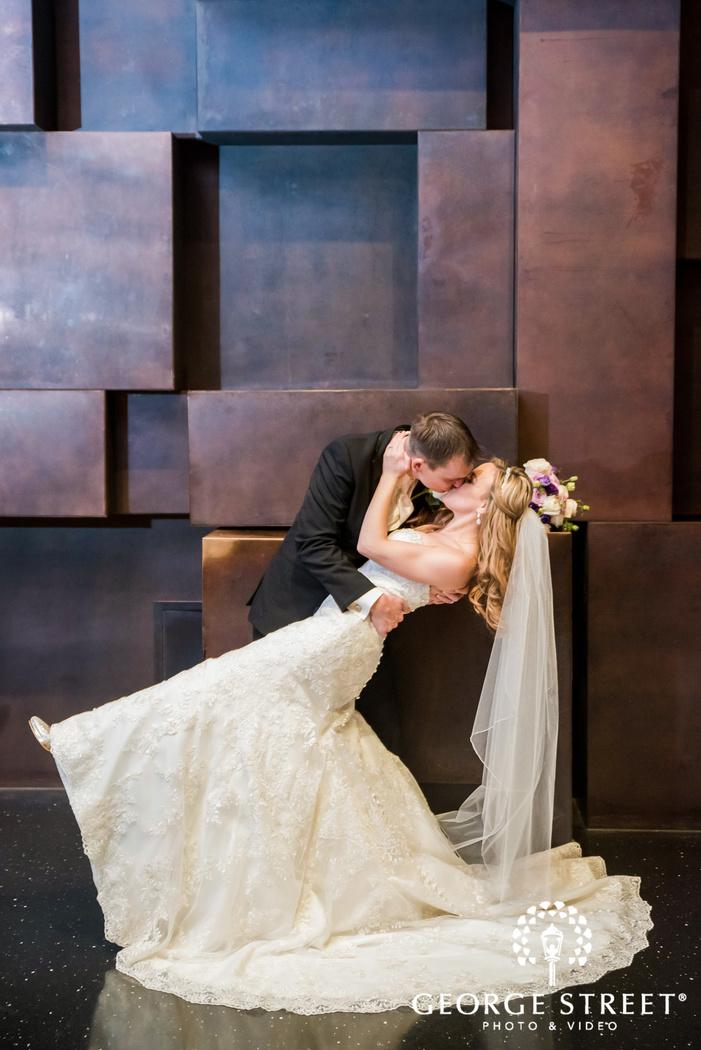 romantic bride and groom at reception venue