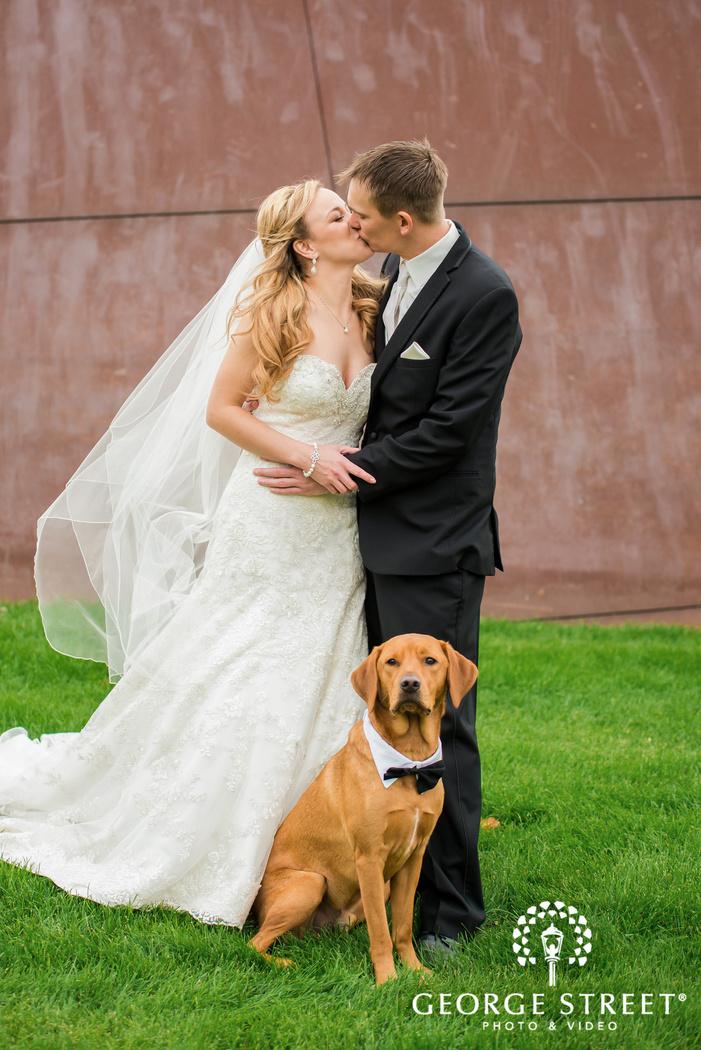 romantic bride and groom in yard