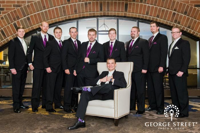 stunning groom and groomsmen at mcnamara alumni center in minneapolis
