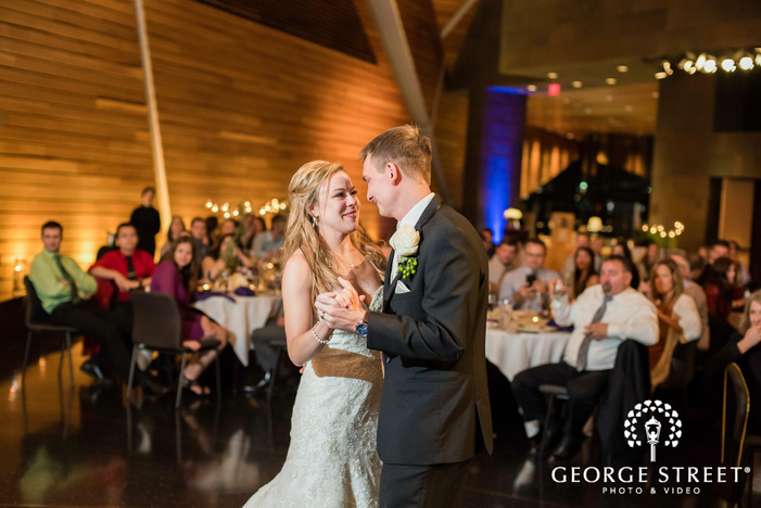 sweet bride and groom at reception dance