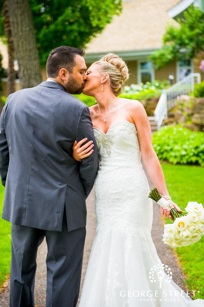 bride and groom candid outdoor portrait