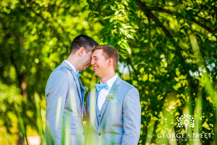 grooms lgbtq wedding outdoor portrait