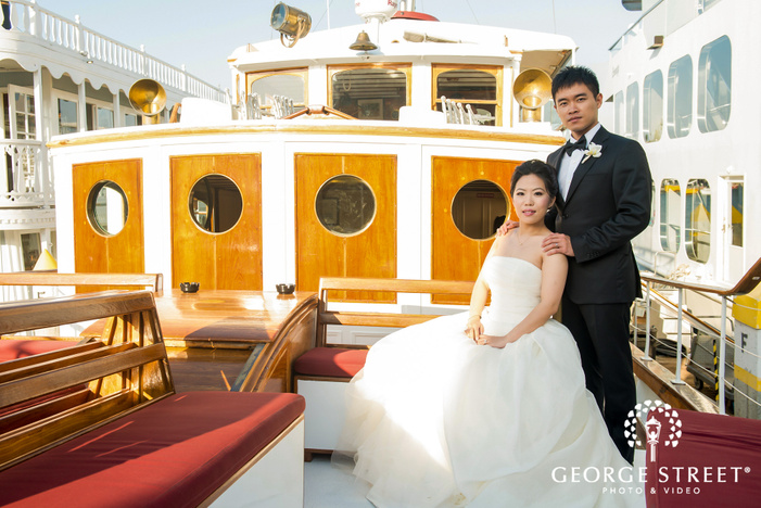 gorgeous bride and groom at yacht wedding photos
