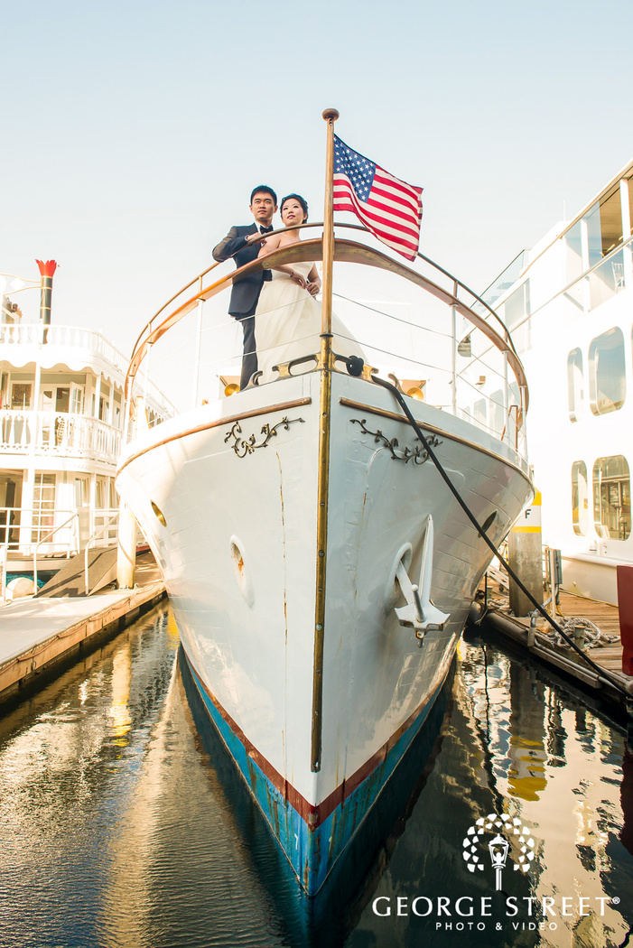 lovely bride and groom on yacht