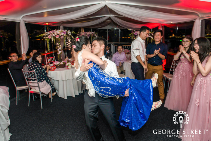 romantic bride and groom at electra cruises in los angeles