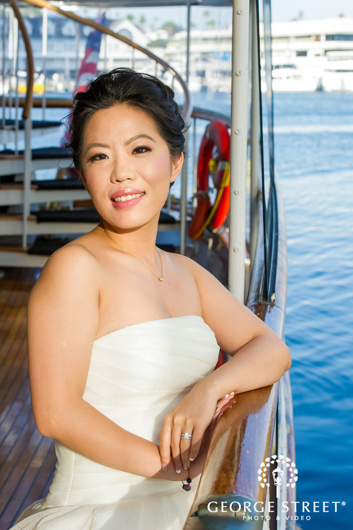 sweet bride on yacht wedding photos