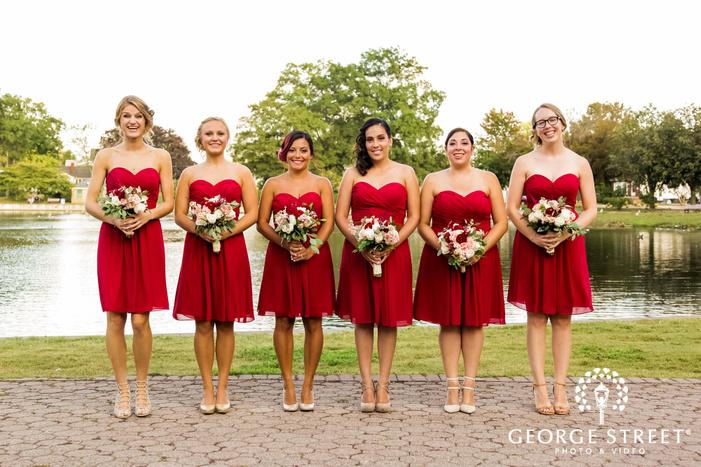 beautiful bridesmads at lakeside innew york wedding photos