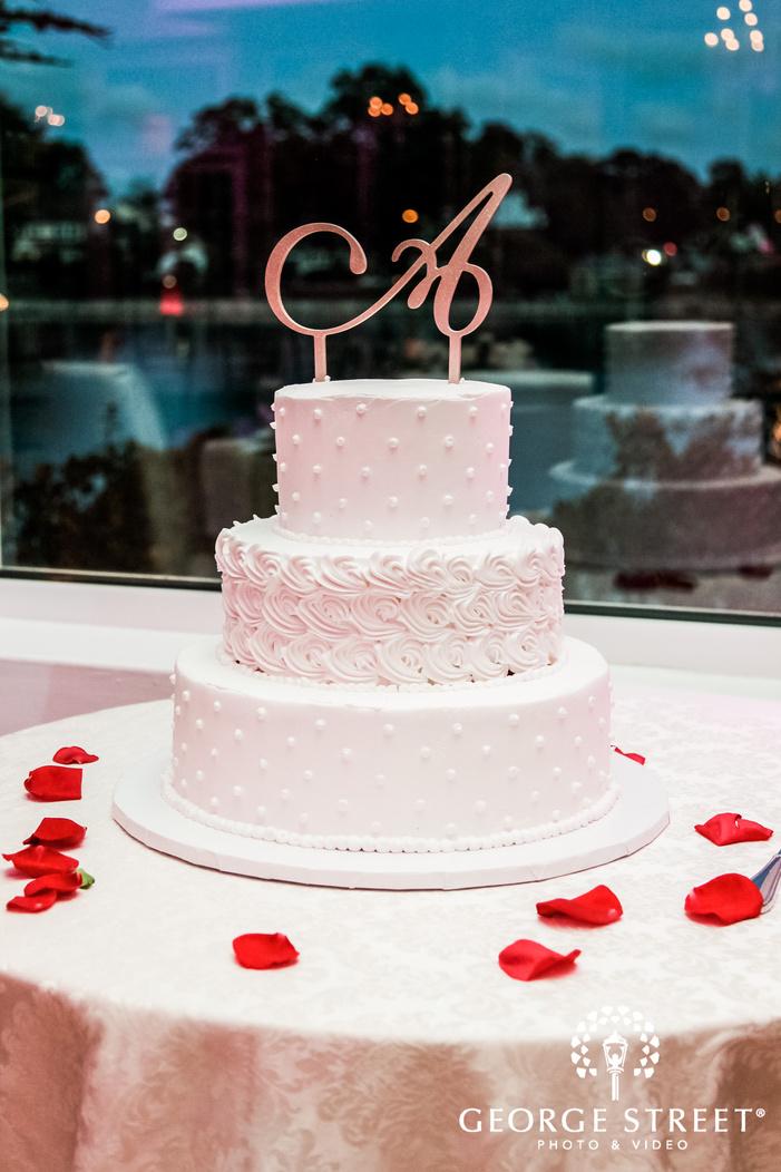 elegant wedding cake with at coral house wedding photo