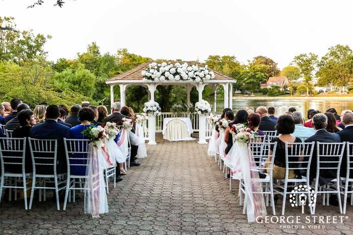 elegant wedding venue setup at lakeside in new york wedding photo