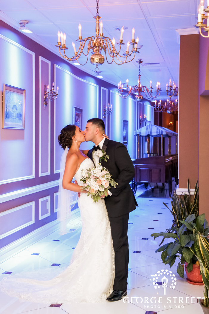 lovely bride and groom in the corridor of coral house in new york wedding photography