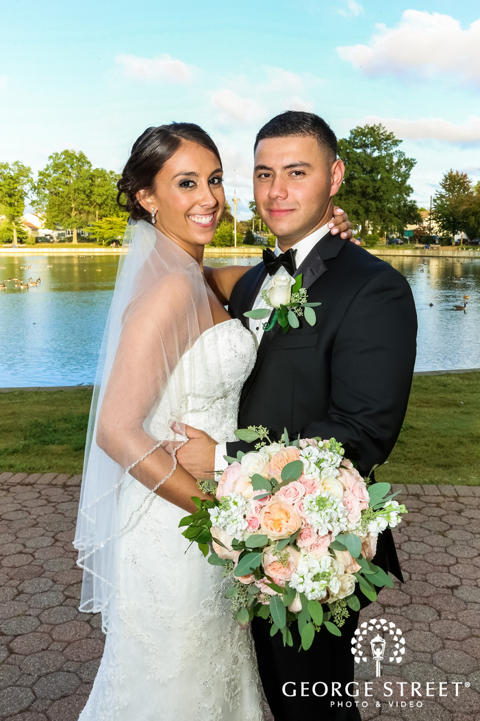 loving bride and groom at lakeview wedding photos