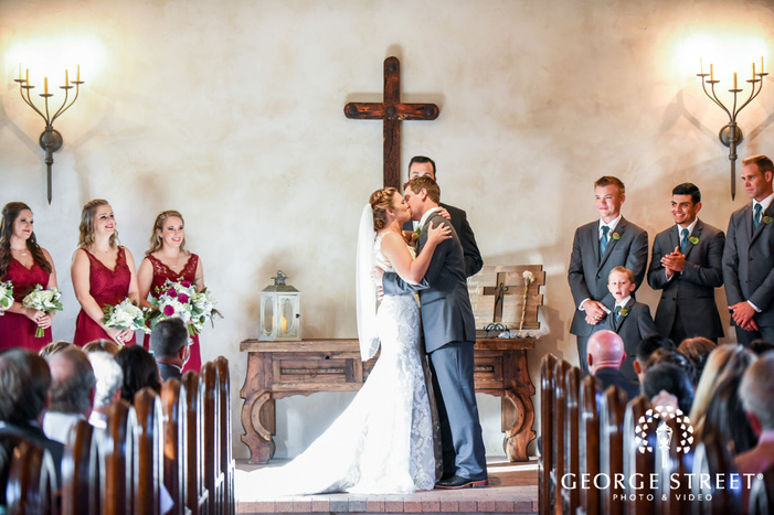 bride and groom first kiss lost mission san antonio wedding photos