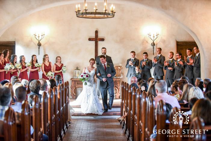 couple ceremony exit lost mission san antonio wedding photos