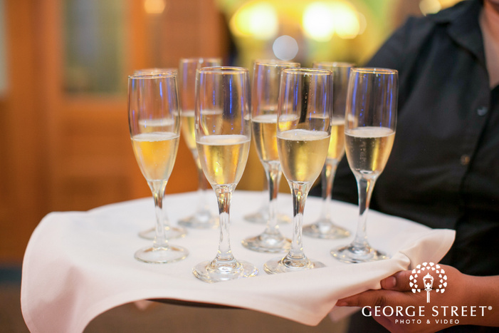 champagne glasses at wedding reception