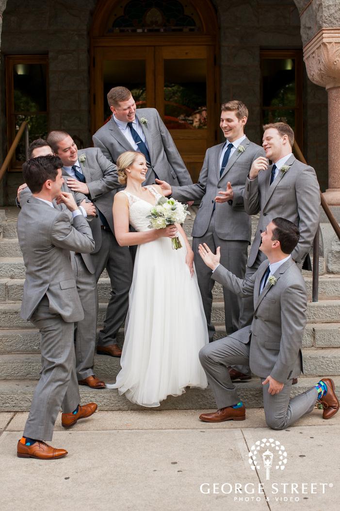 goofy bride with groomsmen funny photo