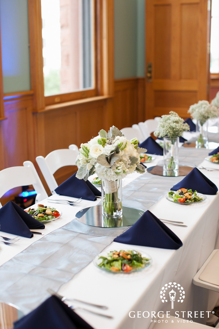 simple white and navy wedding reception decor