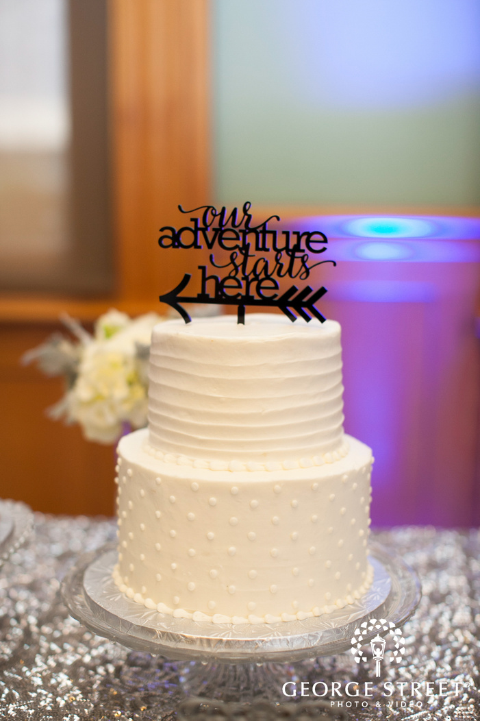 small wedding cake with cake topper
