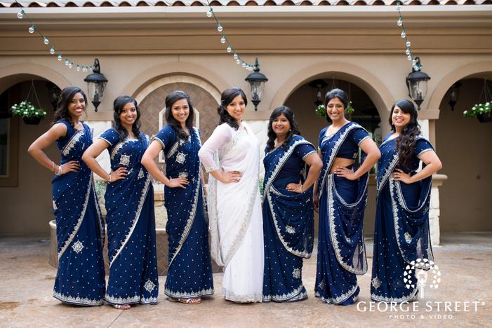 bride and bridesmaids in sarees