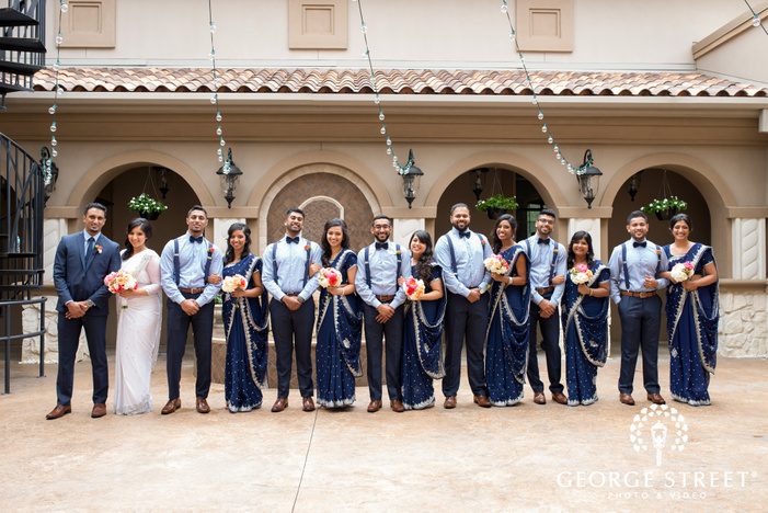 wedding party group photo at Piazza in the Village