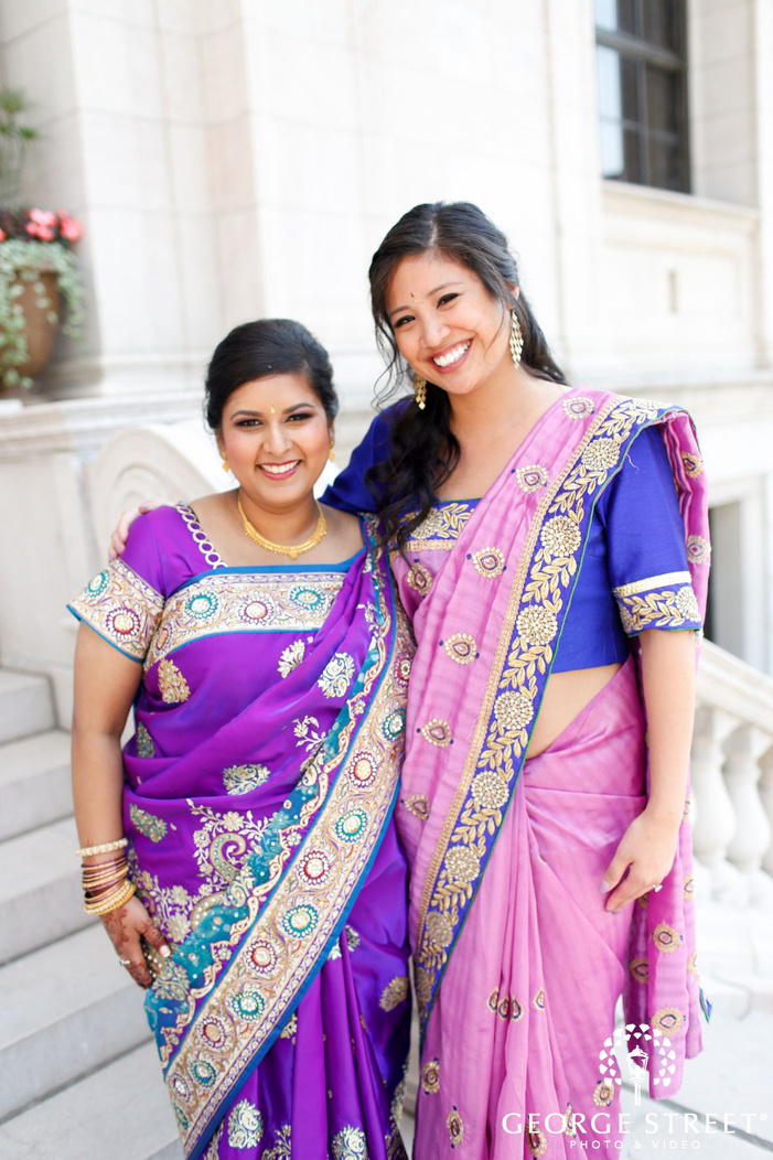 bride and maid of honor indian wedding