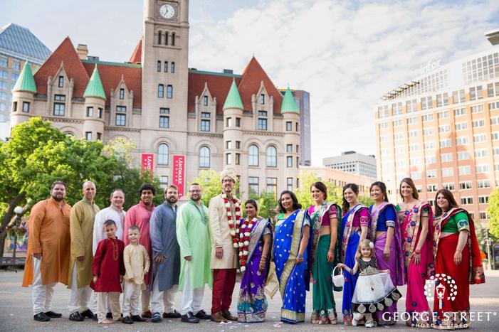 indian wedding minneapolis wedding party portrait