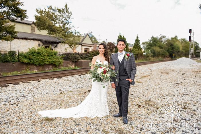 adorable bride and groom at     trackside atlanta wedding photo