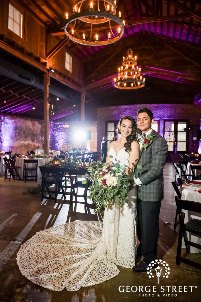 happy bride and groom at     trackside atlanta