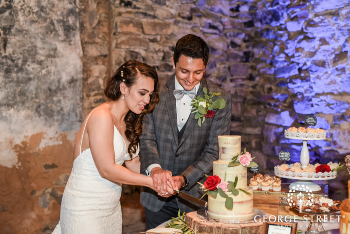 loveable bride and groom cake cutting ceremony wedding photo