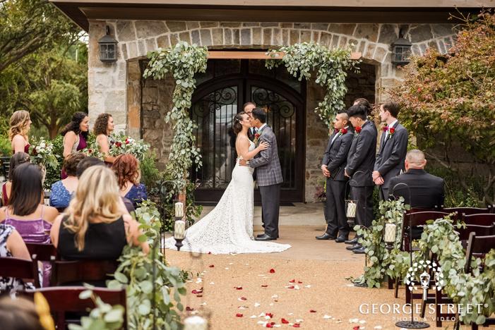 romantic bride and groom on reception